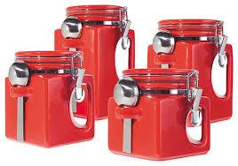 oggi ez grip 4 piece ceramic airtight canister set red