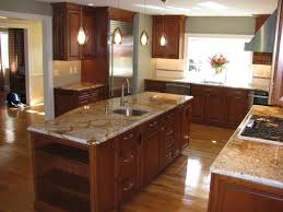 Best Wall Color For Kitchen by Kitchen Cherry Kitchen Cabinets With Brown Marble Tiles