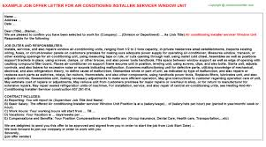 Sample Resume For Air Conditioning Technician by Air Conditioning Technician Offer Letters