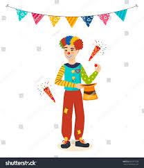 clown show for birthday party clown animator birthday shows tricks stock vector