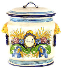 majolica oval canister