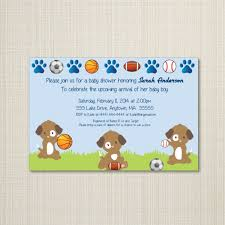 sports puppies baby shower invitation you print