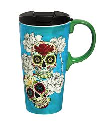 halloween coffee mugs cypress home day of the dead ceramic travel coffee mug 17 ounces