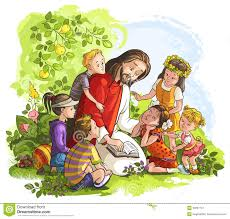 jesus reading the bible with children stock vector image 39397727