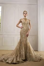 gold wedding dress leeymon real gold mermaid wedding dress 2017 open back high neck