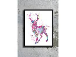 watercolor print reindeer christmas poster stag decor deer