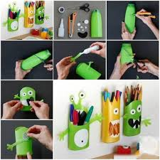 eye popping pencil holders made with drinking straws