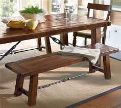 dining room tables with benches and chairs benchwright dining bench pottery barn