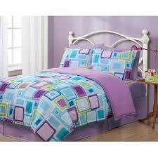 Blue Bed Sets For Girls by Twin Purple Blue Green Geometric Pattern Reversible Comforter Set
