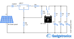 solar powered led light circuit diagram and schematic design