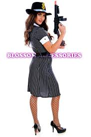 Gangster Costumes Halloween J64 Ladies 1920s Chicago Mafia Gangster Moll Fancy Dress Halloween