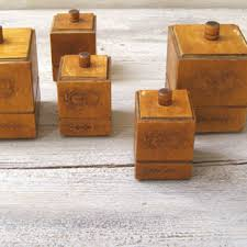 wooden kitchen canister sets mid century soviet wood kitchen canister from meshumash on etsy