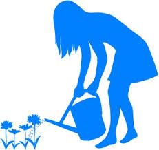 gardening clipart image watering her flowers in a flower garden