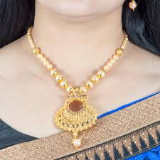 antique necklace set images Mybluepink antique gold necklace set with moti mala jpg