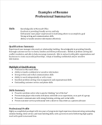 Professional Summary On Resume Examples by Professional Resume Example 7 Samples In Pdf