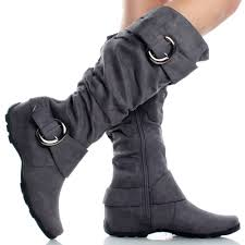 womens gray boots on sale gray suede slouch buckle designer fashion womens knee high boots