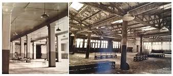 vintage warehouse lighting fixtures porcelain warehouse shades still hang in long closed institution