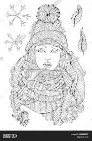 vector hand drawn fashion in a warm knitted hat and