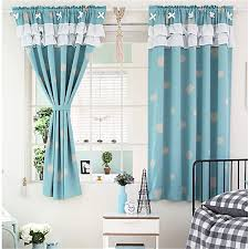 Blue Window Curtains Lovely Cloud Pattern Blue Polyester Thick Fabric Blackout Bay