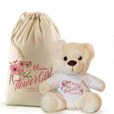 personalised flower girl bridesmaid thank you teddy in a bag