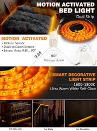 motion activated led light strip amazon com emotionlite motion activated bed light led motion sensor