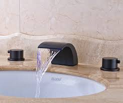 senlesen oil rubbed bronze deck mount double handles led waterfall