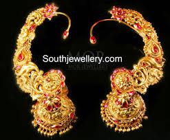 gold kaan earrings kaan gold jhumkas jewellery designs