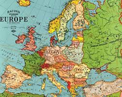 map of eurup europe map etsy