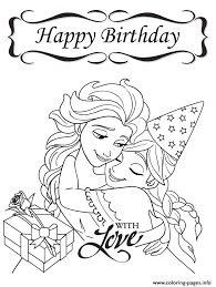 frozen happy birthday love colouring coloring pages