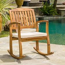Wood Rocking Chair Amazon Com Sadie Outdoor Acacia Wood Rocking Chair With Cushion