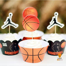 basketball cake toppers 24pcs kids birthday party decoration cupcake wrappers favors