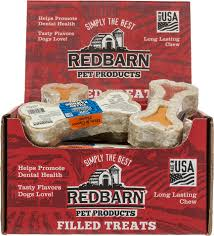 redbarn ham u0026 cheese filled rawhide bones dog treats 4 75 in chew