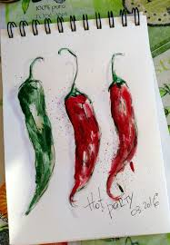 red chili peppers print kitchen decor watercolor painting