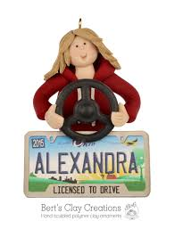 new driver ornament personalized license plate choose your
