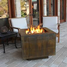 ten steel fire pit 30 in square with optional lid