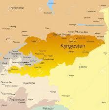 Kyrgyzstan Map Vector Color Map Of Kyrgyzstan Country Royalty Free Cliparts