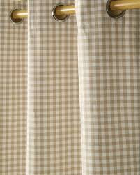 Eyelet Curtains Cotton Gingham Check Beige Ready Made Eyelet Curtains Homescapes