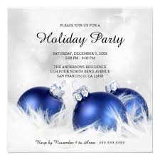 Christmas Ornament Party Invitations - an elegant holiday party invitation template with blue christmas