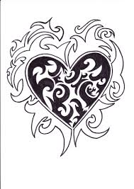 Cool Designs Heart With Ivy Tattoo Drawings Tribal Heart Tattoo Design By