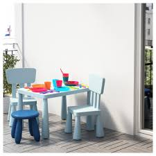 Children S Chair And Table Mammut Children U0027s Table In Outdoor Light Blue 77x55 Cm Ikea