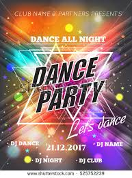 night dance party poster background template stock vector