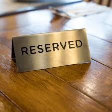 metal reserved table signs table v metal signs double facets gold plated chrome brass