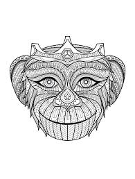 monkey head animals coloring pages adults justcolor