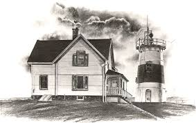 beach house drawing lighthouse charcoal home building plans 47221