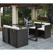 Rattan Patio Table Outdoor Wicker Patio Furniture Beachfront Decor