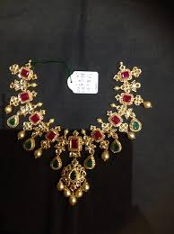 emerald ruby necklace images Cz stone ruby emerald necklace from psj south india jewels jpg
