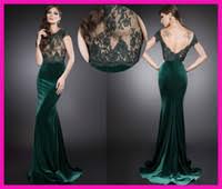 buy lq lace backless 2014 emerald green evening dress v back