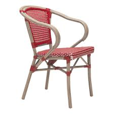 zuo paris metal outdoor patio dining chair in red and white pack