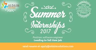 Send Your Resume At Summer Internships 2017 Are Open At Aldaim Solutions