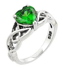 celtic rings celtic ring sterling silver celtic knot with heart shaped green